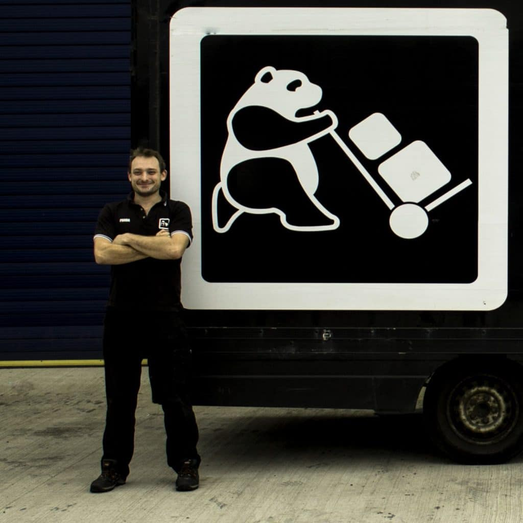 Panda Waddup of Go Panda Removals Cardiff heading for Greece on an aid mission